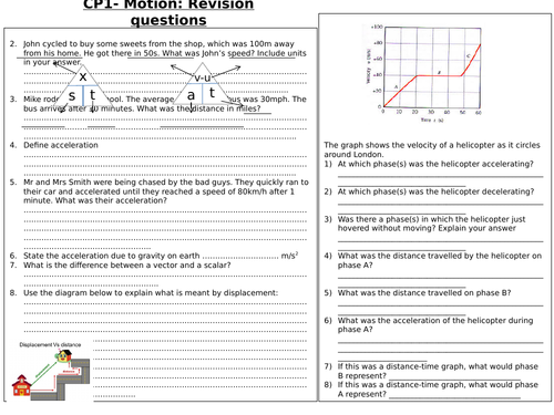 CP1 - Motion Edexcel - Revision questions and answers