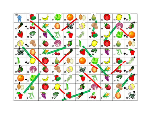 Fruits and Vegetables Slides and Ladders game