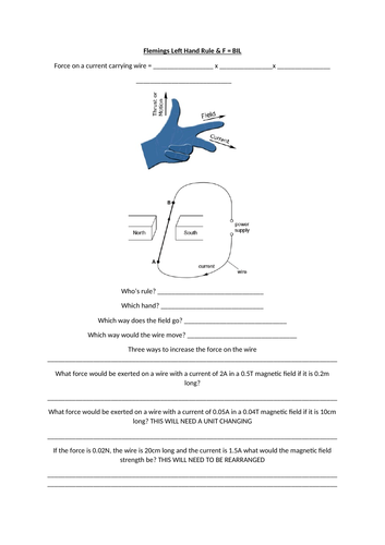 Flemings Left Hand Rule and BIL AQA 9-1 Worksheet