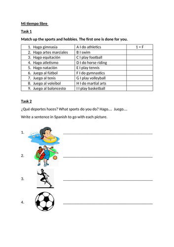 Hobbies and sports cover lesson