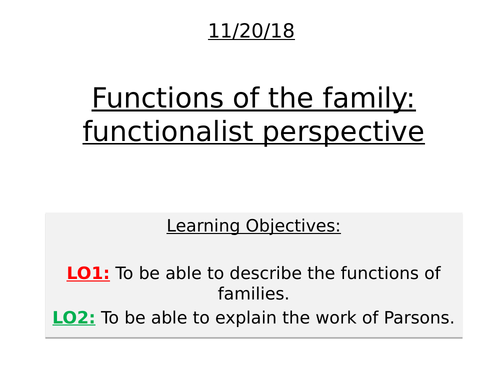 Functionalist perspective on the family