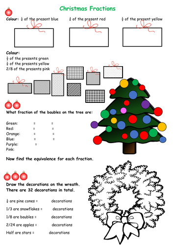 Maths Christmas Fractions Differentiated