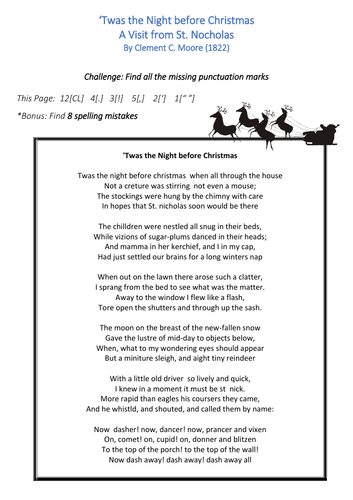 English SPAG: Poetry Punctuation  - Christmas Poems