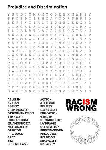 Prejudice and Discrimination Word Search