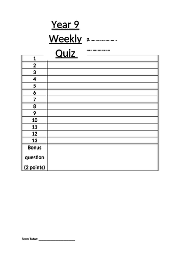 Year 8 and Year 9 Inter-form Weekly quiz competition