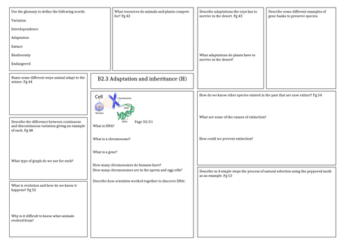 Revision Mat: Activate 2 - Adaptation and inheritance