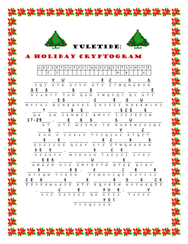 YULETIDE CRYPTOGRAM W/ ANSWER KEY