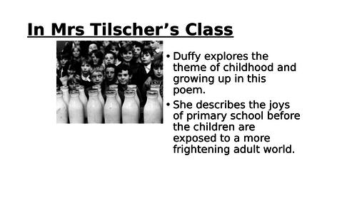 In Mrs Tilscher's Class - Duffy for Higher / Nat 5