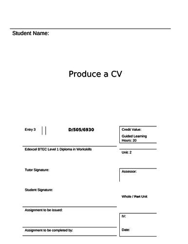 Workskills - Unit 1 - Produce a CV - Entry 3 (Assessment booklet and tasks)