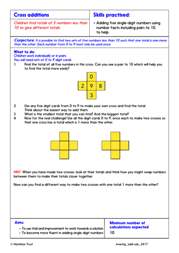 Problem-Solving Investigation: Use facts, patterns, PV to add/subtract (Year 2)