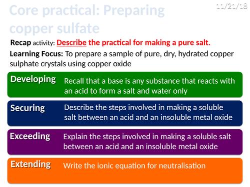 CC8c Core practical - preparing copper sulfate (Edexcel Combined