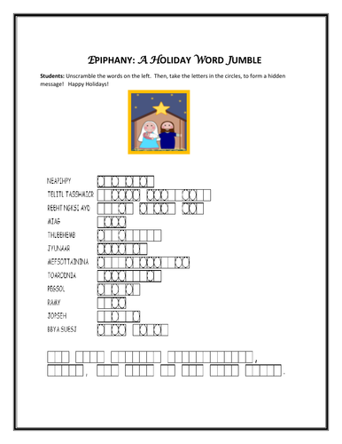 EPIPHANY: A HOLIDAY WORD JUMBLE ACTIVITY W/ ANSWER KEY