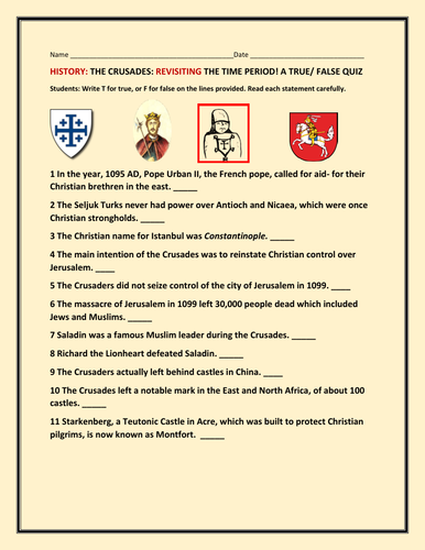 THE CRUSADES: A HISTORY QUIZ: A HISTORY TRUE/FALSE
