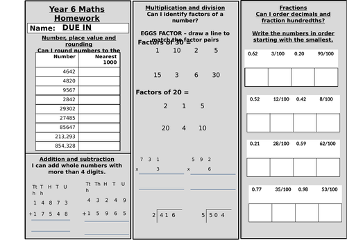 Year 5/6 Maths Homework