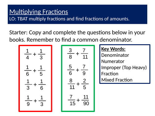 Multiplying Fractions Differentiated Lesson and Worksheet