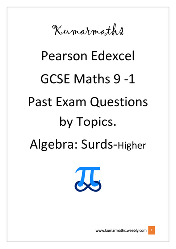 Pearson Edexcel Mathematics GCSE 9-1 Past Exam Question by Topics: Surds