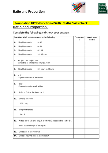 GCSE / Functional Skills Maths Diagnostic Skills Check for Ratio and Proportion