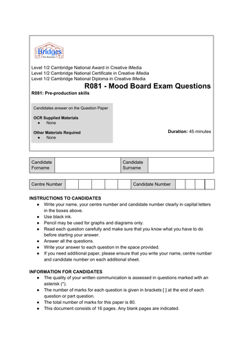 OCR iMedia Topic Assessments