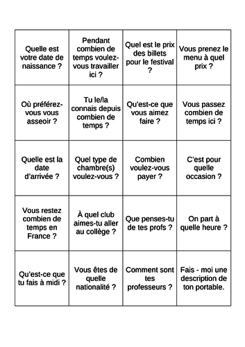 French Role Play Revision Game