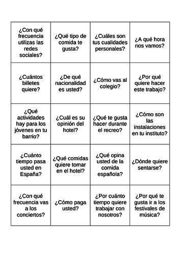 Spanish Role Play Revision Game