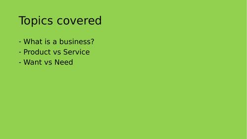 Edexcel 1.1.5 GCSE Business Introduction to Business: Goods vs Services, Wants vs Needs