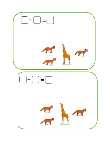 Worksheets for finding the difference, Year 1, to be used with counters