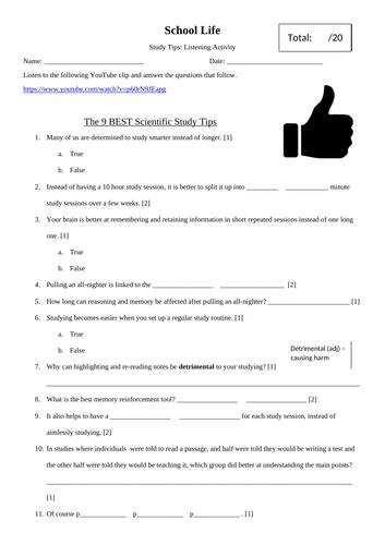 English: Listening Task Based on Healthy Study Tips