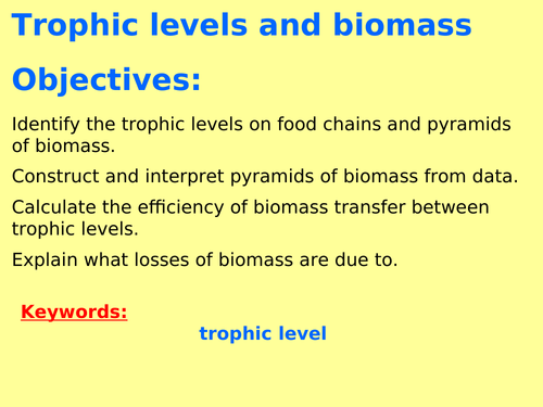 AQA B7.10 (Biology spec 4.7) - Trophic levels, biomass pyramids and transfers (TRIPLE ONLY)