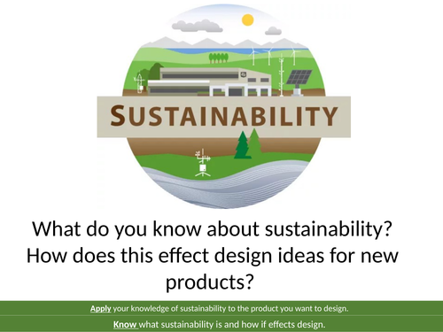 AQA 1-9 GCSE Design and Technology Sustainability and Environmental issues.