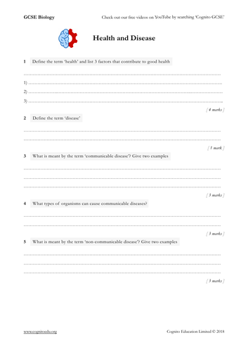 GCSE Biology (9-1) - Health and Disease - Worksheet & Answers