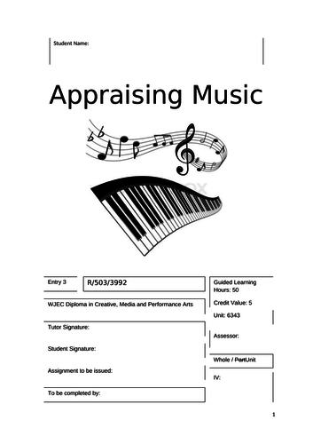 WJEC - Appraising Music - Entry 3 - Unit 6340