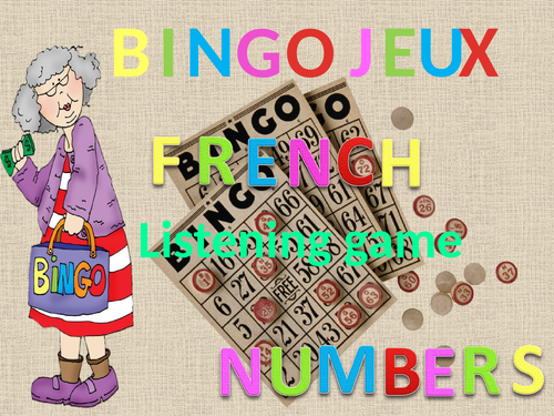 Bingo listening game. French numbers.
