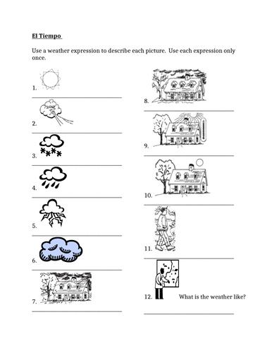 Tiempo (Weather in Spanish) Worksheet