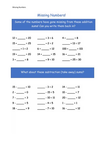 Year 1 Mathematics - Addition and Subtraction