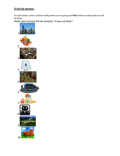 Lugares e Atividades (Places and Weekend Activities in Portuguese) Worksheet