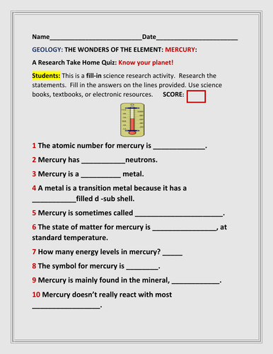 GEOLOGY: THE ELEMENT MERCURY: A FILL-IN QUIZ