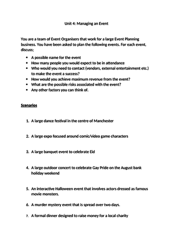 BTEC Level 3 Business: Unit 4 Managing an Event - Learning Aim A Complete