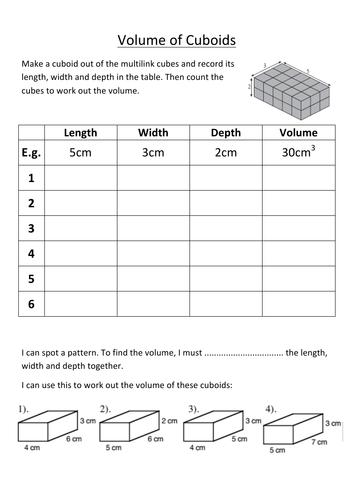 KS2/3 - Investigating the volume of cuboids