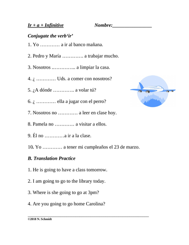 Spanish Worksheet: Ir + a + infinitive (conversational future tense)