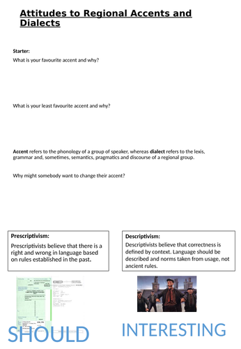 A-Level Language and Region: Lesson One Attitudes and Stereotypes
