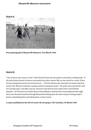 Apartheid Sharpeville massacre source based assessment