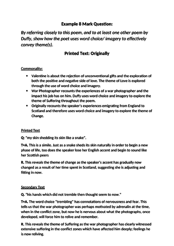 Scottish Text Section: Example 8 Mark question  + answer based on Duffy's Originally
