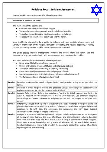 KS3 Judaism assessment