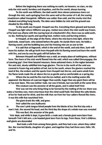 "AQA Paper 1 example ""Norse Mythology"" by Neil Gaiman"
