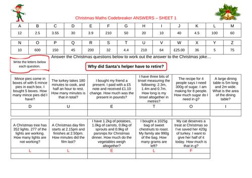 Christmas code breaker - differentiated Christmas worksheet - Y4, Y5 & Y6