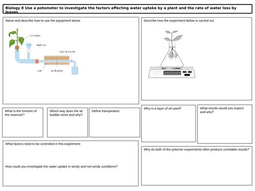 GCSE Biology Prescribed Practical Potometer Revision Mat