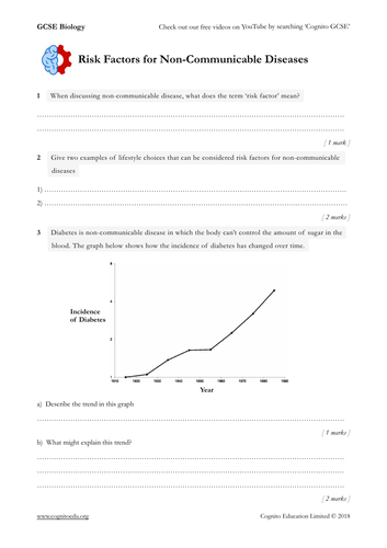 GCSE Biology (9-1) - Risk factors and Non-Communicable Disease - Worksheet & Video