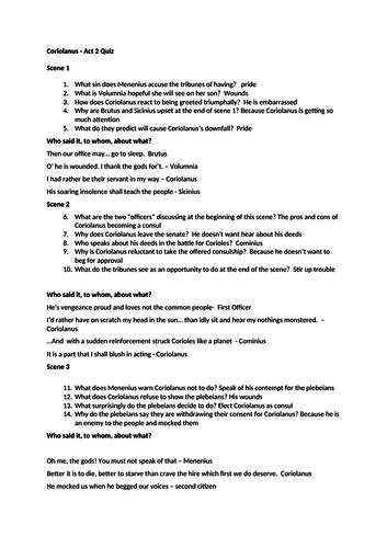 Coriolanus Act 2 Quiz
