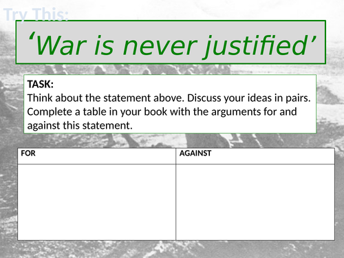 KS3 War and Conflict Complete Scheme of Work/ Learning- Poetry, Prose, S&L, Descriptive writing.