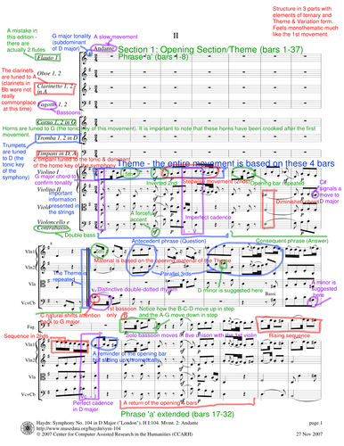 Score Annotation: Haydn Symphony No. 104, Movement II